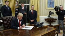 'It's Been a Great Day': Trump Gets Started in Oval Office