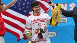 Stonie Upsets Chestnut at NY Hot Dog Eating Contest