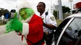 Grinch Patrols Traffic in Florida Keys, Hands Out Onions