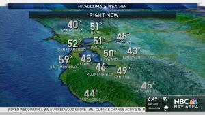 <p>Expect a cloudy morning commute with a few spotty showers possible and cool 40s to 50s. Gusty overnight winds will increase by the afternoon especially for the higher elevation areas in the North Bay and Santa Cruz mountains.</p>