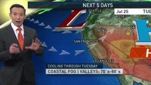 <p>A deep marine layer to near 2,000&rsquo; feet coupled with steady onshore winds will keep our temps on the mild side for another day.&nbsp; We&rsquo;ll likely see some drizzle at times into the morning commute before skies begin clearing east of the Golden Gate Bridge by mid-morning.&nbsp; High pressure will build back toward Northern California for the second half of the week leading to another late week into weekend warmup with valley temps set to climb into the 90s again.</p>