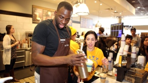 Draymond Green Slings Coffee at Peet's in Berkeley