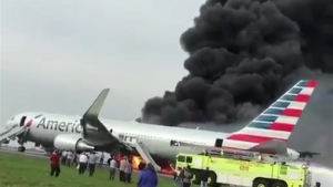 Plane on Fire at O'Hare Airport in Chicago