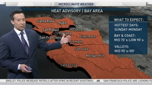 High pressure holds on strong for another day with temps climbing quickly into the 90s and 100s around the Bay Area - including the inner bay out to the valleys.  Tomorrow should begin to see some cooling as a sea breeze starts to develop, its possible a few areas Tuesday could reach their high temps around 11am-noon as onshore winds increase.  Valleys will likely have to wait another day before significant cooling arrives.  By midweek and into next weekend temps may actually trend slightly below average as a trough of low pressure sets up in the Pacific Northwest.  While showers are expected to stay to the north and east of here, cool northwesterly winds should keep highs mainly in the 60s and 70s.