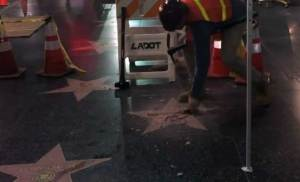 Watch: Vandal Smashes Trump Star in Hollywood