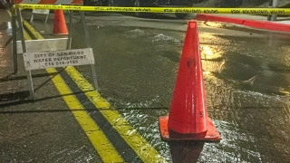 Apparent Water Main Break Causing Flooding in Fremont