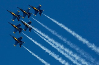Raw Video: Blue Angels Fly Over the City
