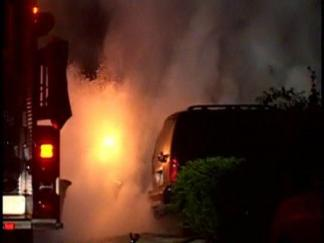 RAW Video: Cars Torched in East Bay