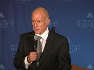 Raw Video: Jerry Brown in the Spin Room