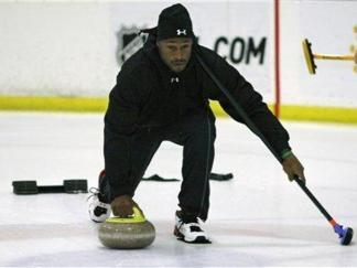 Curling with Vernon Davis