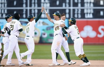 A's Rally, Win 14-Inning Marathon With Olson Walkoff Hit