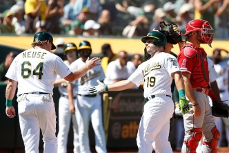 7-Run Seventh Lifts A's Over Angels to Complete Sweep