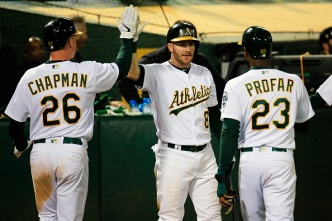 Piscotty Hits Walkoff Homer in 13th to Lift A's Over Reds