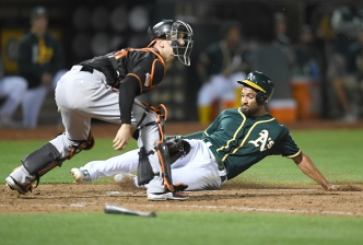 A's Score Two in Eighth, Snap Losing Streak