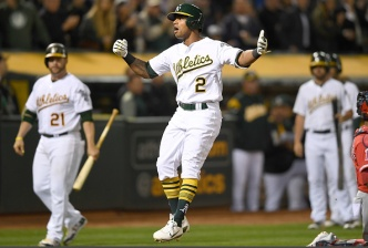 Khris Davis Homers Twice as A's Defeat Angels in Opener