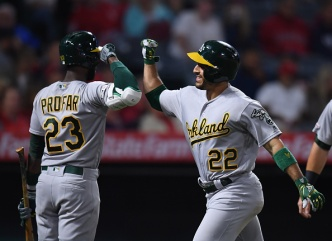 A's Edge Angels to Snap Five-Game Slide