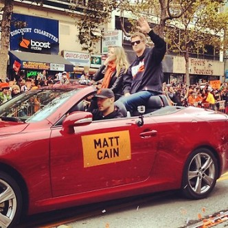 Jim Harbaugh, Alex Smith Drive Giants World Series Parade Cars