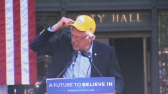 Bernie Sanders Sports Warriors Hat During Oakland Rally
