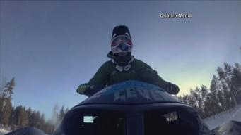 Snowmobile Rider Attempts a Double Backflip in Sweden