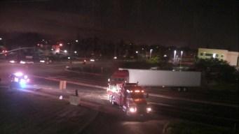 Big-Rig Crashes, Spills Fuel near I-680, Auto Mall Parkway