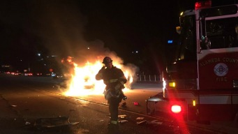 Car Engulfed in Flames After Rollover Crash in East Bay