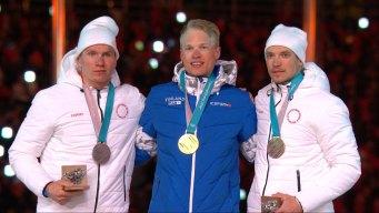 Finland's Livo Niskanen Awarded His Gold Medal for 50km Race