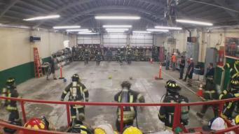 Firefighters Playing Dodgeball as Part of Their Training