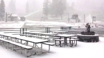 RAW: Snow Falling in the Sierra Nevada on Last Day of Summer