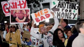 Jackson Fans Weep, Hug, Chant Outside Court