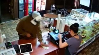 Armed Robber at Belmont Doughnut Shop Caught on Video