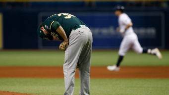 Rays Tee Off on A's Pitching, Take First Game of Series