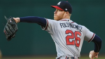 A's Avoid No-Hitter, Fall to Braves