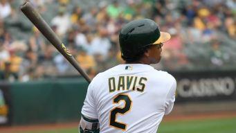 Davis' Back-to-Back 40-Homer Season Leads A's Over Rangers