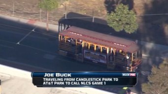 Sportscaster Joe Buck Takes Trolley From Candlestick to AT&T