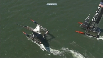RAW VIDEO: Team New Zealand Nearly Capsizes on SF Bay