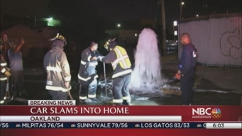Car Slams Into Hydrant, House in Oakland