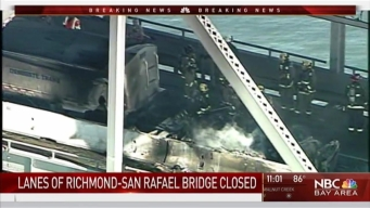 Tractor Trailer Fire Blocks Lanes on Richmond-San Rafael Bridge