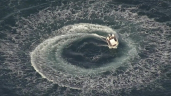 RAW: Abandoned Boat Spins in Circles Near Half Moon Bay