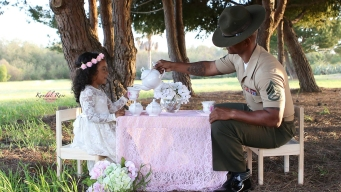 Photos: US Marine Dad Shares 'Tea Party' With Daughter