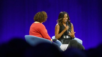 Michelle Obama Addresses Crowd at Apple Conference