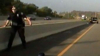 Dashcam Video Shows Cop Narrowly Escape Highway Crash