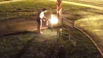 Underwear-Clad Man Torches Neighbor's Trump Sign