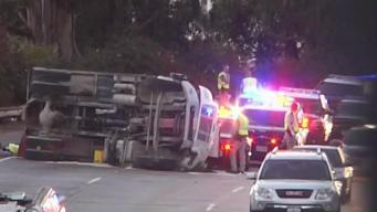 Overturned Truck Causes Delays on Highway 101 in San Francisco