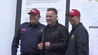 Schwarzenegger Surprises Firefighters Battling Camp Fire