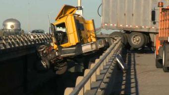 Big Rig Teeters on Freeway Ledge After Crashing in Stockton