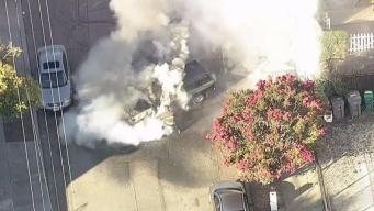 Truck Bursts Into Flames on Residential Street in Oakland