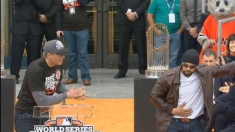 Pence, Pagan and Others on Stage at Giants Celebration