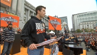 Romo, Posey and Cain Speak at the Giants Celebration