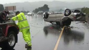 Wet and Windy Weather Snarls Traffic on Peninsula Roads