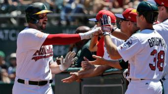 Alonso Belts Two Homers, A's Win in Walkoff to Snap Skid